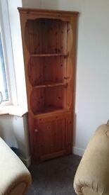 Pine corner shelf and cupboard