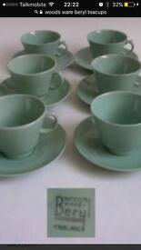 6 x Teacup, Saucer and Plate, Woods Ware, Beryl, Green, Trio. 1940's, Made in England. Vintage