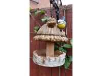 Bird Feeder/ house Blue tit with thatched roof design