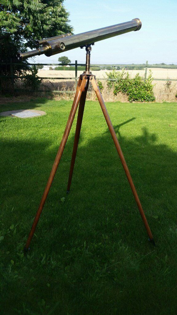 VERY! RARE! 1894 ANTIQUE 3-1/2'' TELESCOPE E.G. WOOD OF LONDON GENUINE! ANTIQUE! WITH BOX & TRIPOD!!