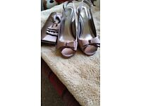 Beautiful mink satin special occasion shoes and clutch brand new
