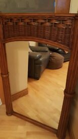 Large Mirror with a wicker frame