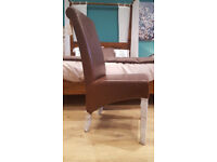 NEW 4 Brand New Brown Leather Dining Chairs. RRP £599