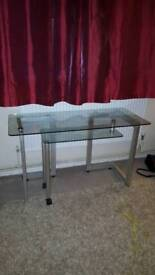 Glass desk with pull out lower extension