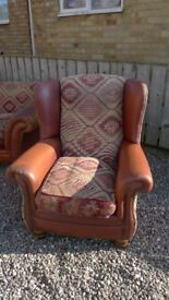 Tretrad Eastwood Buffalo Hide and Damask Upholstered Chair