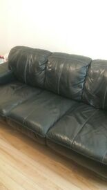 3 Seater black leather couch