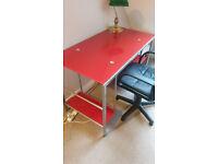 Red Glass Computer Desk 115 x 60 cm