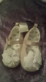 NEXT new girls shoe shimmery taupe colour size 18-24months.. soft sole