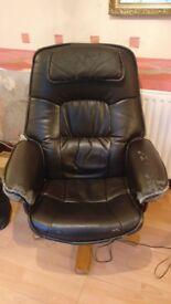 Worn Sturdy Swivel Chair - Black