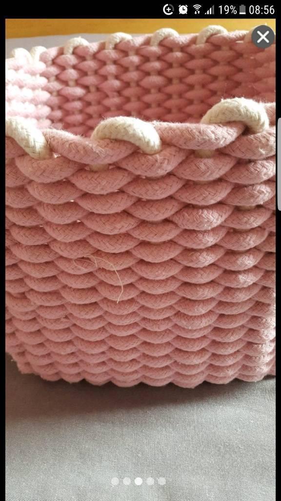 Brand new large pink white cotton thread rope square storage box