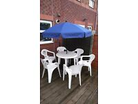 Garden table set, 6 chairs, parasol and stand ! 40 Pounds