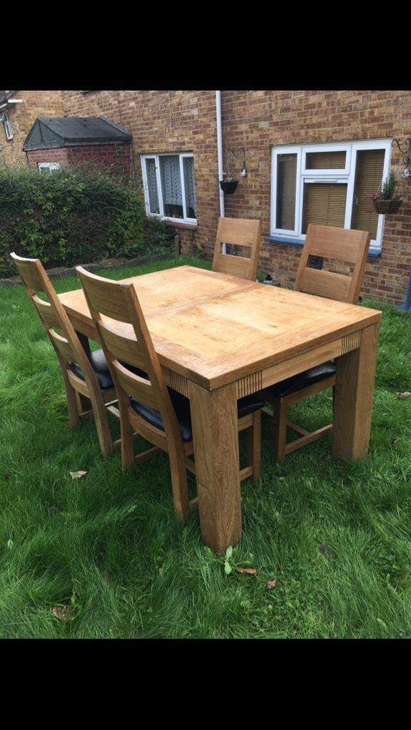 Upcycled oak table and chairs