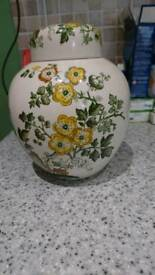 Masons ceramic vase with lid