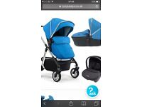 Silver croos wayfarer travel system in blue, carry cot, pushchair for 6 months plus and car seat