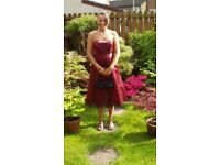 Red satin prom dress size 10.