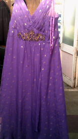 purple dress, by monsoon, with gems, size 16, evening,party