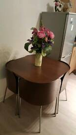 Dark brown compact table 4 chairs