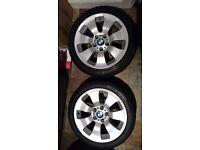 "Four BMW 17"" Style 158 Alloys all with Pirelli run flat Winter Tyres - V Good Tread"