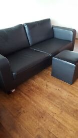 Three Seater faux leather sofa including foot stool. SOLD <<<<