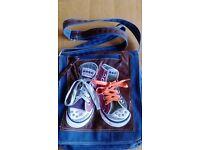 Trendy girls denim bag with baseball boots embossed