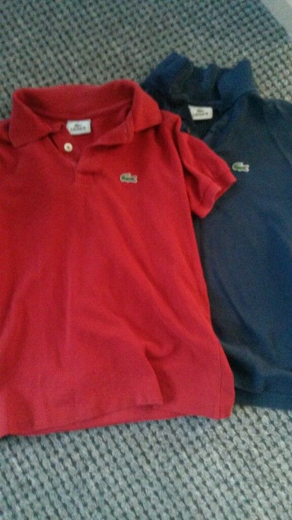 Two Lacoste t shirts age 8