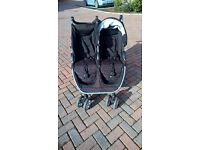 Britax B-Agile double stroller pushchair with car seat in excellent condition