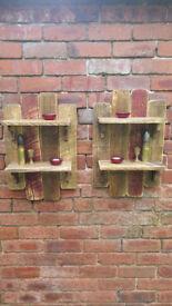 Pair of Handmade Rustic Shabby Chic Set of Shelves