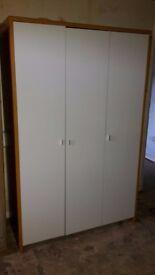 New/Showroom model. Large, wide 3 door wardrobe,robe.White and wood
