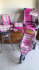Dolls buggy, high chair, cot, changing bag, seat. Mamas & Papas. Excellent condition
