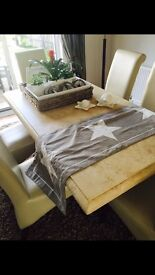 Lovely dining marble stone dining table and 6 leather chairs