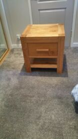 large oak bedside unit 56cm wide 50cm deep 58cm high