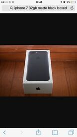 Brand new I phone 7 32gb Matte black , any network ready Wednesday evening