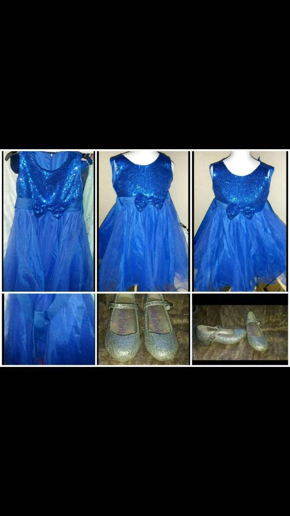 Girls blue flower girl wedding party dress shoes age 10-11-12