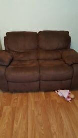 2 x 2seat recliners. Brown. Good condition
