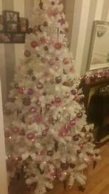 7ft white christmas tree lights and decorations