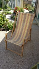 Vintage wooden framed deck chair (one) with arm rests in very good condition