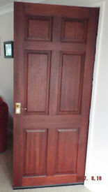 Wide Hardwood Door 6 panel supplied with brass handles also hinges & catches