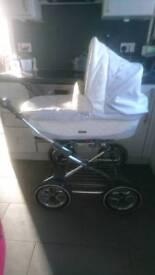 Baby style prestige baby blue and white leather pram