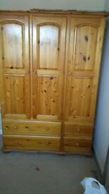 Solid Oak Bedroom Furniture, Double Bed, Chest of drawers, Cupboard and Desk