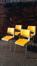 4 x Mid Century Modern, Retro, PEL Stack able Chairs