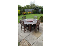 Substantial Hardwood Table and 4 Chairs