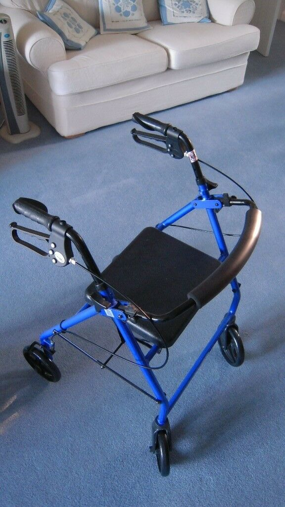 Walking frame - 4-wheel folding with seat and basket   in Hartley ...