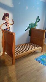 IzziWotNot Oak Sleigh Cot Bed