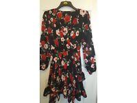 Floral V Neck Dress Size 12/14