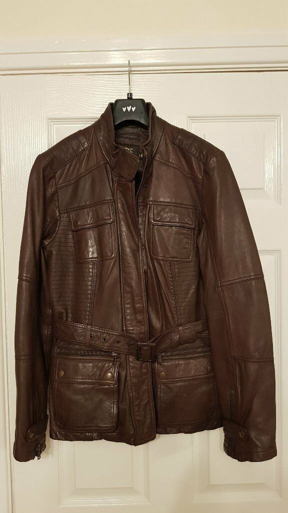 Next Genuine leather Jacket size 14 - Brown