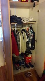 Wardrobe and small unit with drawers