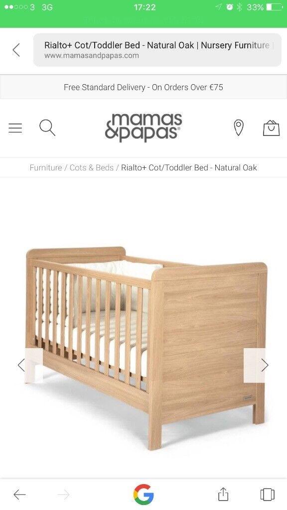 Mamas and Papas Rialto cot bed and dresser