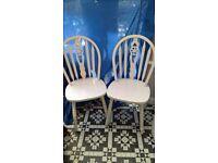 Pair white shabby chic wheelback dining chairs
