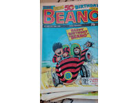 Beanos (approx 220 dated 1985-1991), Beano books, sticker books, anniversary posters + more