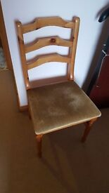 A Pair of Pine Chairs with velour seats - We will accept any offer. Available singly.